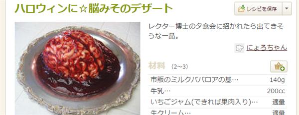 ハロウィンに☆脳みそのデザート by にょろちゃん クックパッド 簡単で便利すぎる!ハロウィンの「お菓子」レシピまとめ41